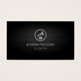 Songwriter Gramophone Icon Brushed Metal Musician Business Card