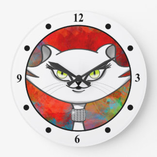 Sonia the green eyes bling cat. Artsy background Large Clock