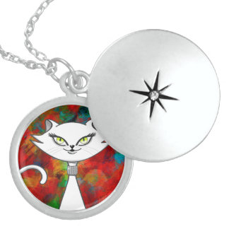 Sonia the green eyes bling cat. Artsy background Locket Necklace