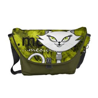 Sonia the green eyes bling cat. Artsy background Messenger Bag