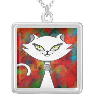 Sonia the green eyes bling cat. Artsy background Silver Plated Necklace