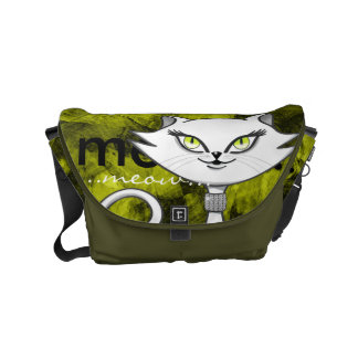 Sonia the green eyes bling cat. Artsy background Small Messenger Bag