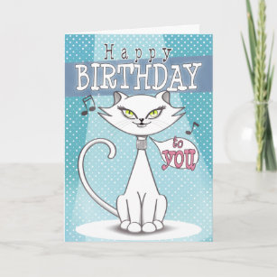 Sonia The Singing Cat Happy Birthday Card