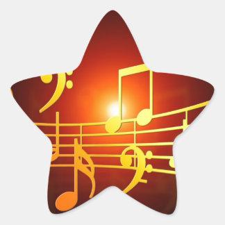 sonido del clef agudo de la música feliz y paz pegatina en forma de estrella