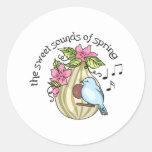 Sonido dulce de la primavera pegatina redonda