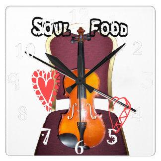 Sonido precioso del tiempo de la comida del alma reloj cuadrado