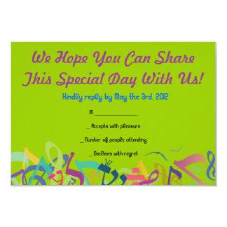 SONIDOS de la tarjeta de contestación de Mitzvah Invitaciones Personalizada