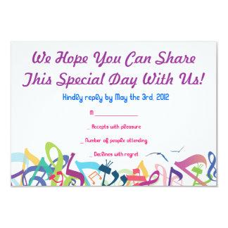 SONIDOS de la tarjeta de contestación de Mitzvah Invitacion Personal