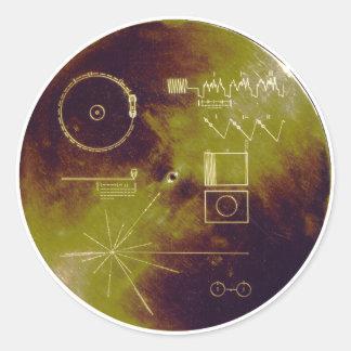 Sonidos del disco de oro del viajero 1 y 2 de la pegatina redonda