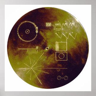 Sonidos del disco de oro del viajero 1 y 2 de la t póster