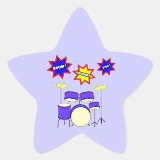 Sonidos del tambor pegatina en forma de estrella