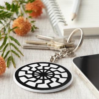Sonnenrad black sun sunwheel keychain basic round button keychain