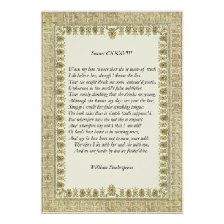 Sonnet # 138 by William Shakespeare Poster
