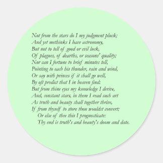 Sonnet # 14 by William Shakespeare Classic Round Sticker