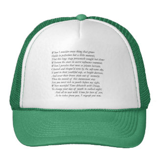 Sonnet # 15 by William Shakespeare Trucker Hat