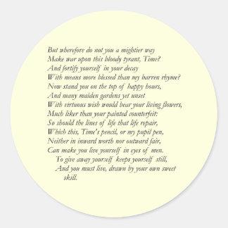 Sonnet # 16 by William Shakespeare Classic Round Sticker