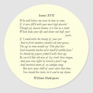 Sonnet # 17 by William Shakespeare Sticker