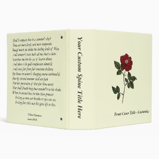 Sonnet # 18 by William Shakespeare 3 Ring Binder
