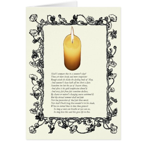 Sonnet # 18 by William Shakespeare Greeting Cards