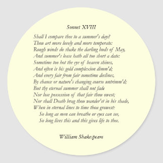 Sonnet # 18 by William Shakespeare Classic Round Sticker