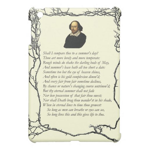 Sonnet # 18 by William Shakespeare Cover For The iPad Mini