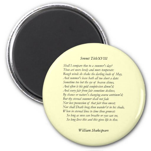 Sonnet # 18 by William Shakespeare Refrigerator Magnet