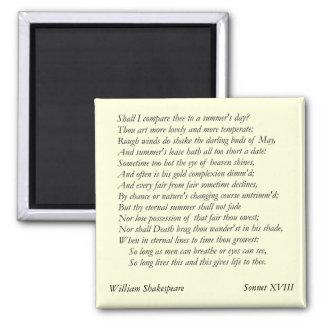 Sonnet # 18 by William Shakespeare Fridge Magnet
