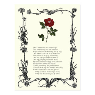 Sonnet # 18 by William Shakespeare Postcard