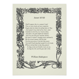 Sonnet # 18 by William Shakespeare Print