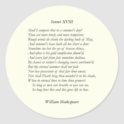 Sonnet # 18 by William Shakespeare Stickers