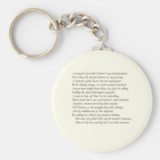 Sonnet # 20 by William Shakespeare Keychain