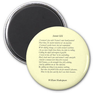 Sonnet 20 by William Shakespeare Magnet