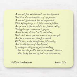 Sonnet # 20 by William Shakespeare Mouse Pad