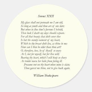 Sonnet # 22 by William Shakespeare Classic Round Sticker