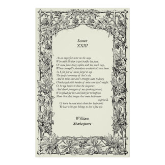 Sonnet # 23 by William Shakespeare Poster