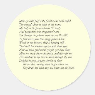 Sonnet # 24 by William Shakespeare Classic Round Sticker