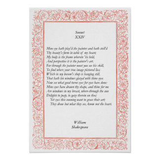 Sonnet # 24 by William Shakespeare Poster
