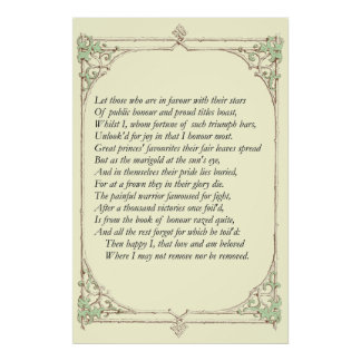 Sonnet # 25 by William Shakespeare Poster