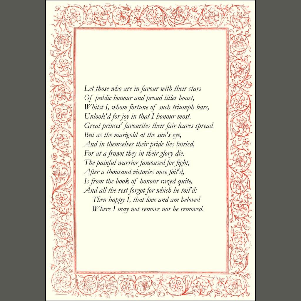 William Shakespeare sonnet xxv