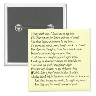 Sonnet # 27 by William Shakespeare 2 Inch Square Button
