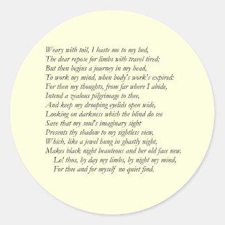 Sonnet # 27 by William Shakespeare Classic Round Sticker