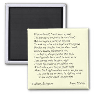 Sonnet # 27 by William Shakespeare Magnet