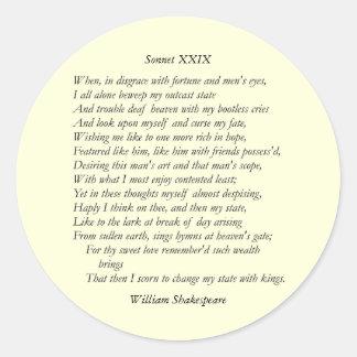 Sonnet # 29 by William Shakespeare Classic Round Sticker