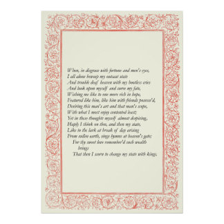 Sonnet # 29 by William Shakespeare Poster