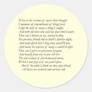 Sonnet # 30 by William Shakespeare Classic Round Sticker