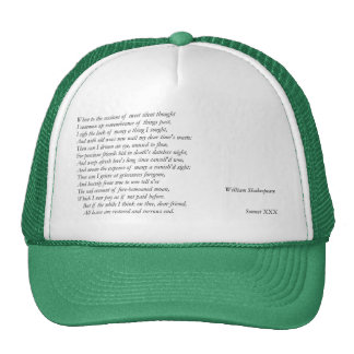 Sonnet # 30 by William Shakespeare Hat