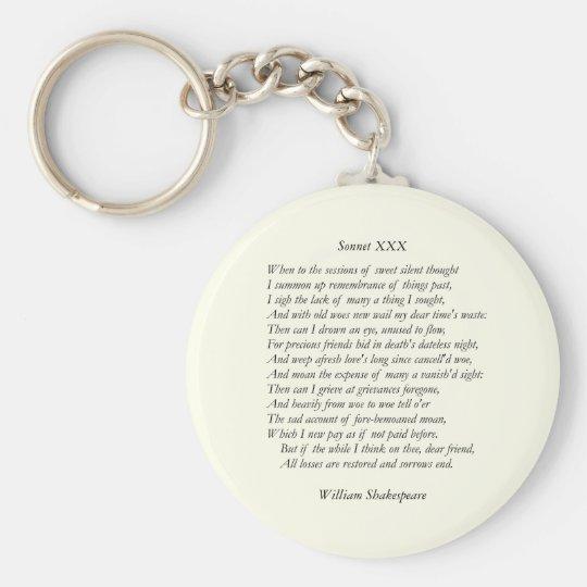 Sonnet # 30 by William Shakespeare Keychain