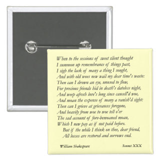 Sonnet # 30 by William Shakespeare Pinback Button