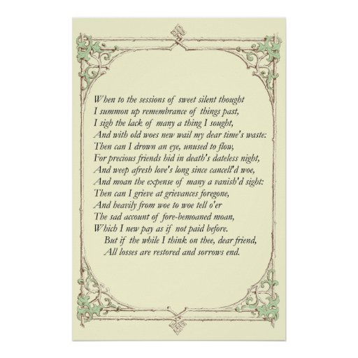 Sonnet # 30 by William Shakespeare Print