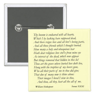 Sonnet # 31 by William Shakespeare Button